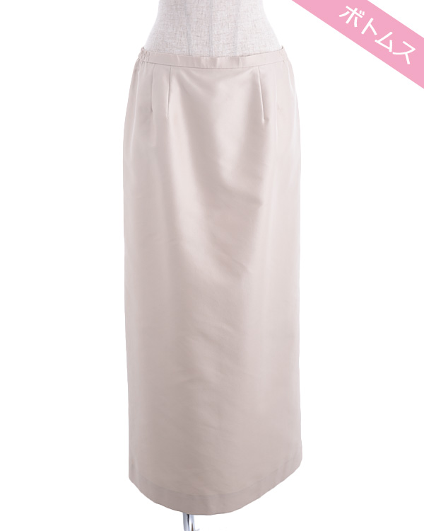 【ベージュ 15号】シャンブレーツイル ストレートライン ロングスカート