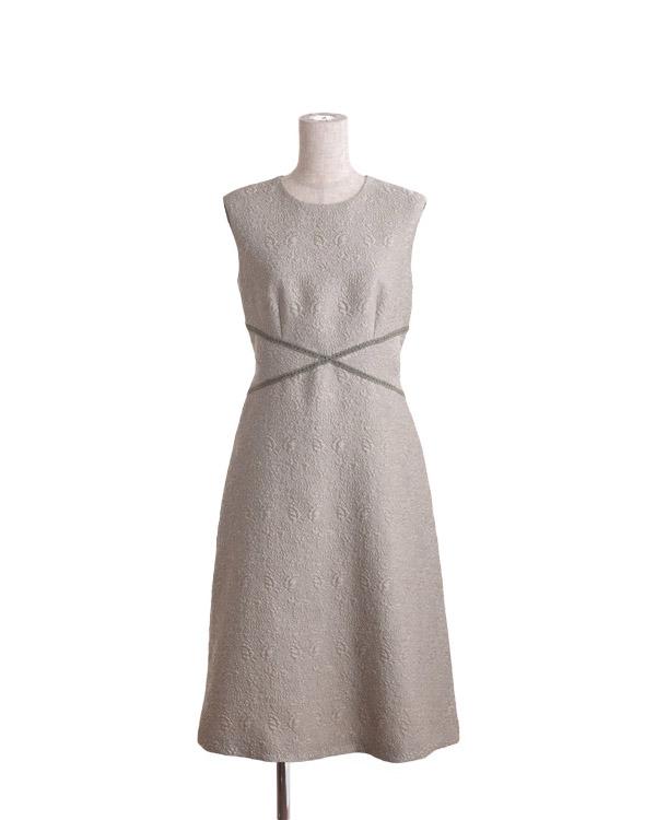 【ベージュ 9号】インポート3Dジャカード ノースリーブ ドレス