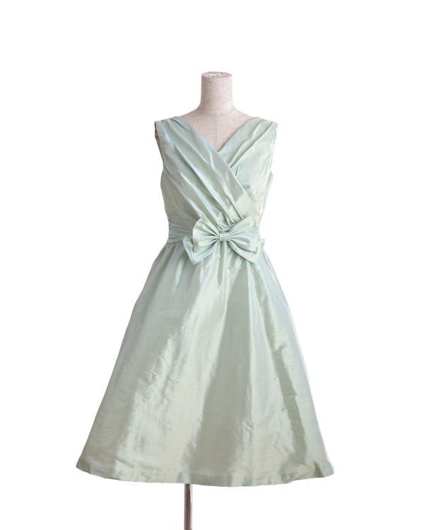【ライトグリーン 9号】リボン付き 形状記憶ジュエルタフタ ドレス