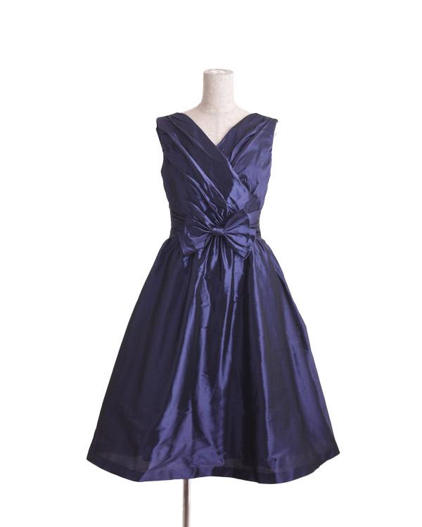 【ネイビー 9号】リボン付き 形状記憶ジュエルタフタ ドレス