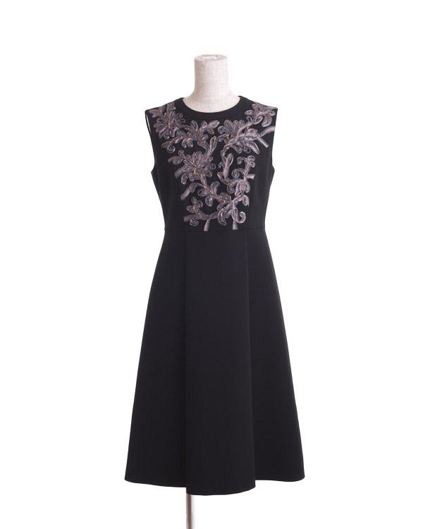 【ブラック 9号】テープ刺繍 ダブルウィーブ ドレス