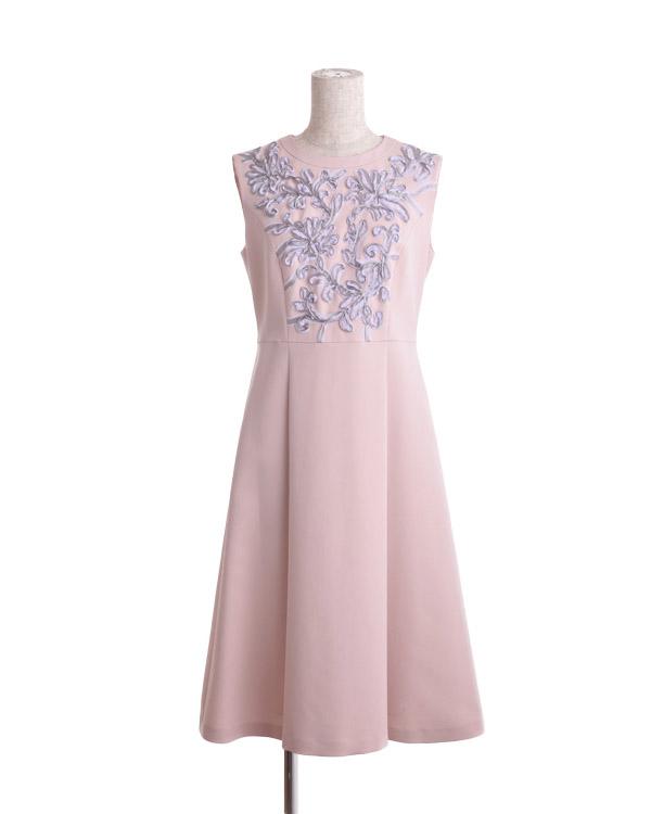【ピンク 9号】テープ刺繍 ダブルウィーブ ドレス