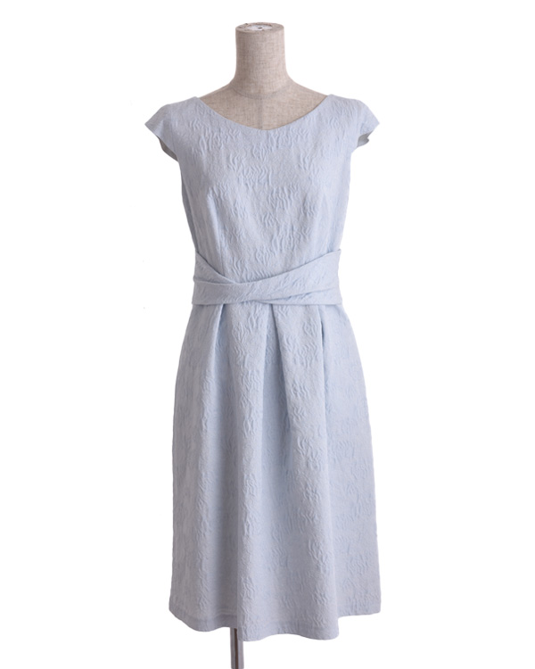 【サックスブルー 9号】フラワージャカード ウエスト切替 タックドレス