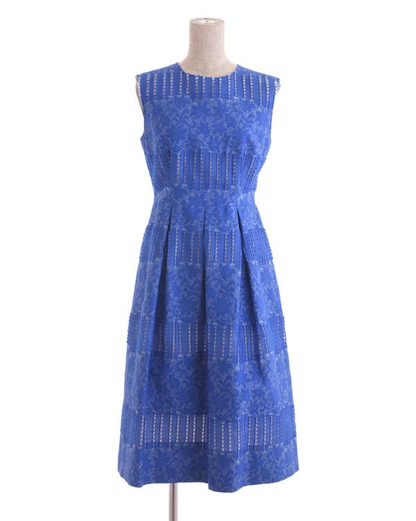 【ブルー 9号】フラワーミックス カットボーダージャカード ウエストタックドレス