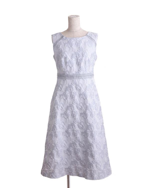【ライトグレー 11号】3Dフラワー ライトジャカード ドレス