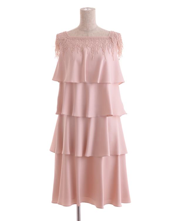 【ピンク 9号】フリンジアクセント サテンティアードドレス