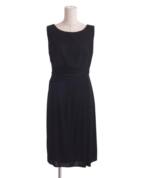 【ブラック 9号】サテンスムース コードレース 巻きスカート風 タイトドレス