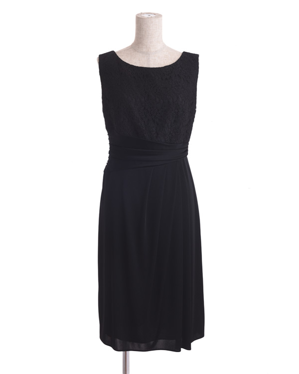 【ブラック 11号】サテンスムース コードレース 巻きスカート風 タイトドレス