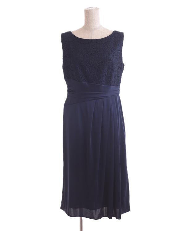 【ネイビー 11号】サテンスムース コードレース 巻きスカート風 タイトドレス