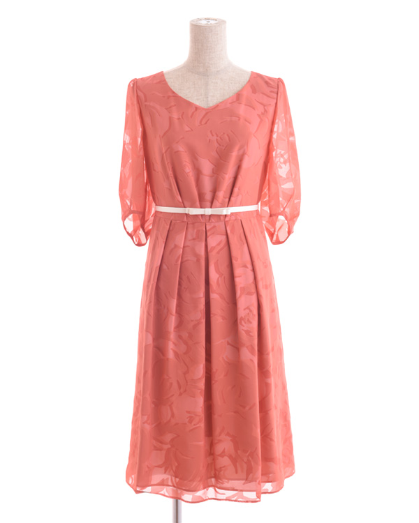 【オレンジ 9号】サテンオパール ベルト・袖付きドレス
