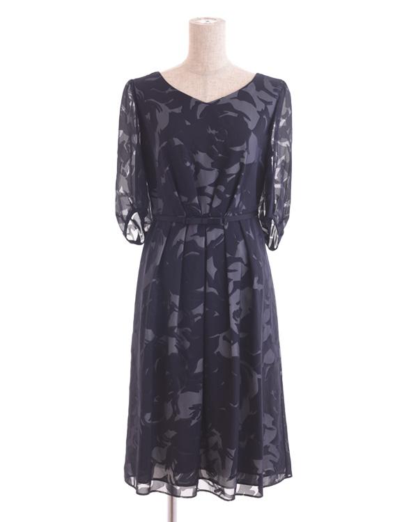 【ネイビー 9号】サテンオパール ベルト・袖付きドレス