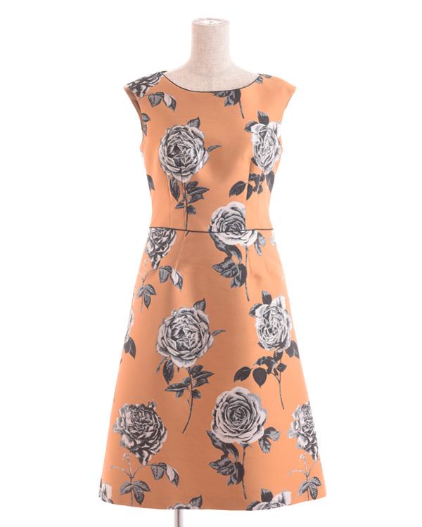 【オレンジ 9号】インポート 花柄ジャカード ウエスト切り替えドレス