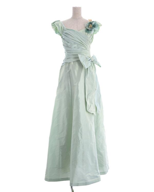 【ライトグリーン 7号】メモリージュエルタフタ 取り外し可能リボン付き スピンドル仕様 ロングドレス
