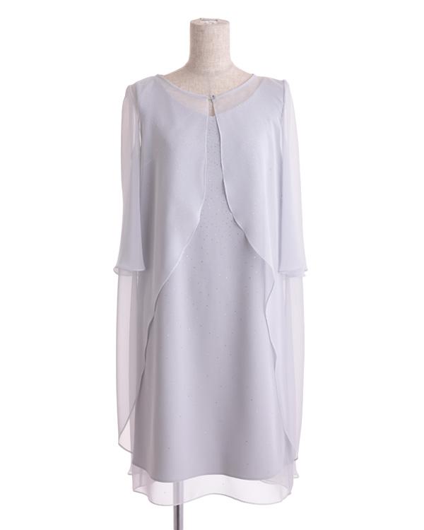 【シルバーグレー 9号】シフォンジョーゼット グリッター シフォンケープ付きドレス