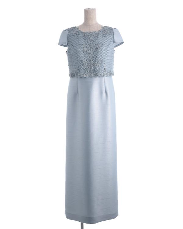 【ライトグリーン 9号】シャンブレーシャンタン×コード刺繍チュールレース 袖付き ロングドレス