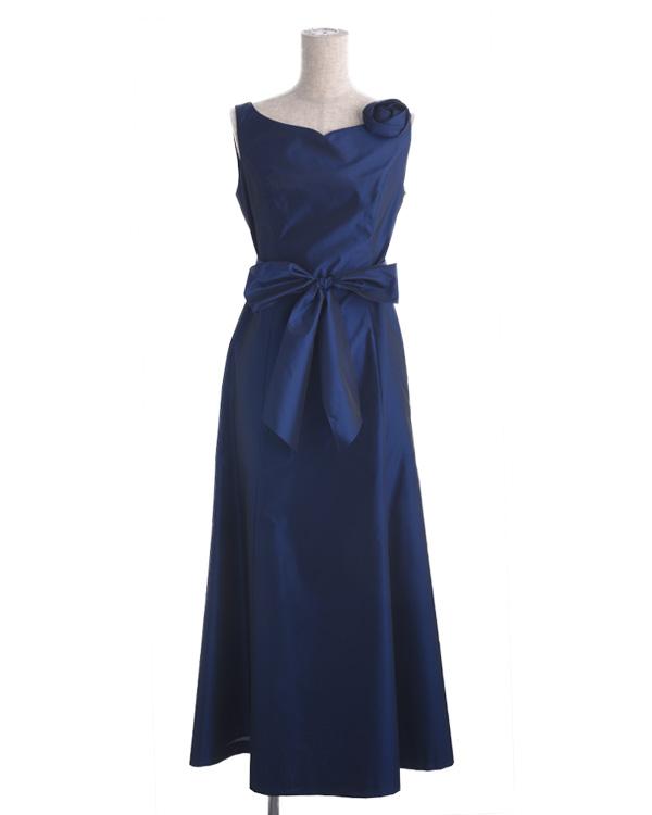【ブルー 9号】シャンブレータフタ ウエストリボン付き セミロングドレス