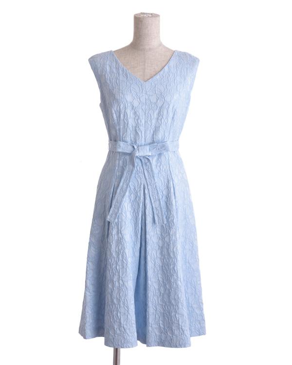 【サックス 9号】サテンジャカード Vネック リボンテープ付きドレス