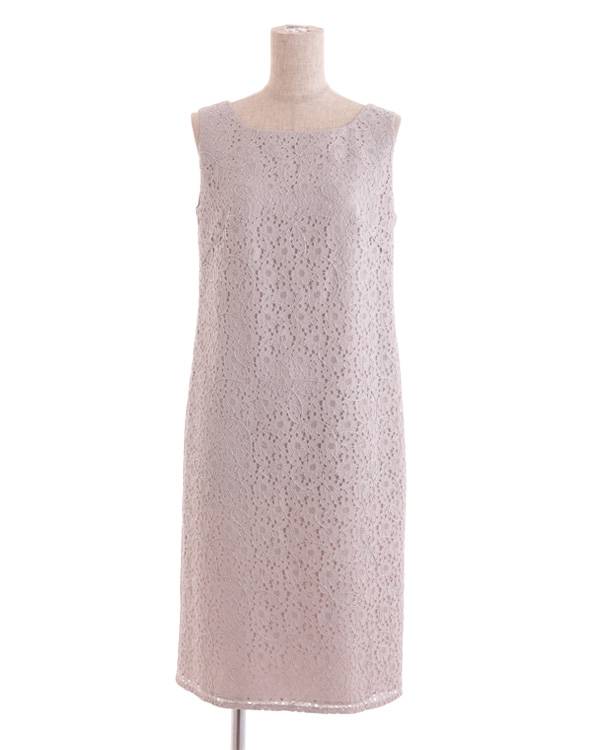 【グレー 9号】ラッセルレース テープ刺繍 ストレートドレス