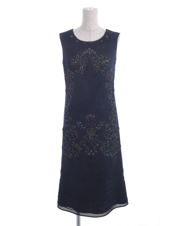 【ダークネイビー 9号】チェックレース クラシカル刺繍 マットドレス