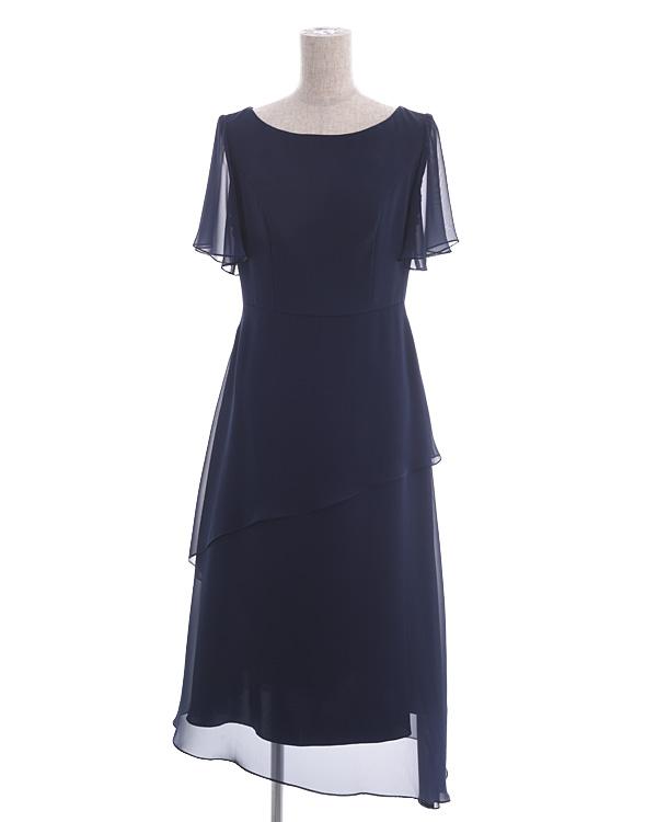 【ネイビー 9号】オーロラシフォン 袖付き ティアード セミロングドレス