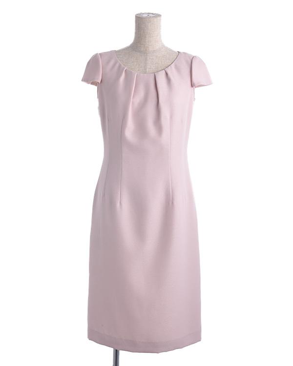 【ピンク 9号】ソフトジョーゼット タックディテール お袖付き タイトドレス