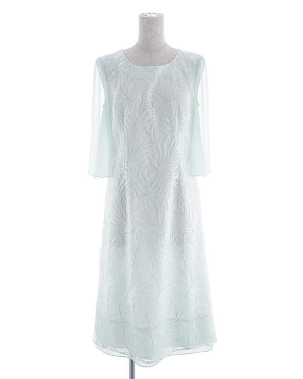 【ミントグリーン 9号】チュールレース テープ刺繍 シフォン 袖付き ミディドレス