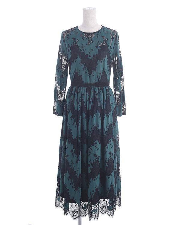 【ブラック×グリーン 11号】バイカラー お袖付き レースセミロングドレス