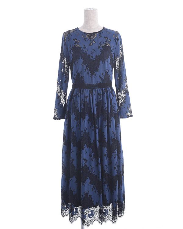 【ブラック×ブルー 11号】バイカラー お袖付き レースセミロングドレス