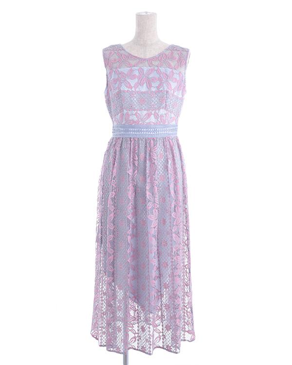 【ピンク×パープル 13号】ストライプレース 幾何調ハシゴレース ウエスト切り替え セミロングドレス