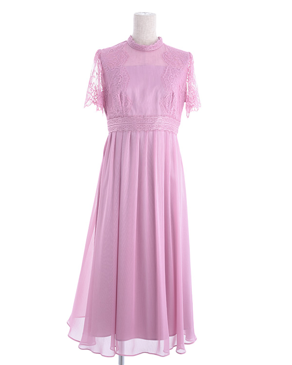 【ピンク 13号】レース 揚柳シフォン お袖付き セミロングドレス