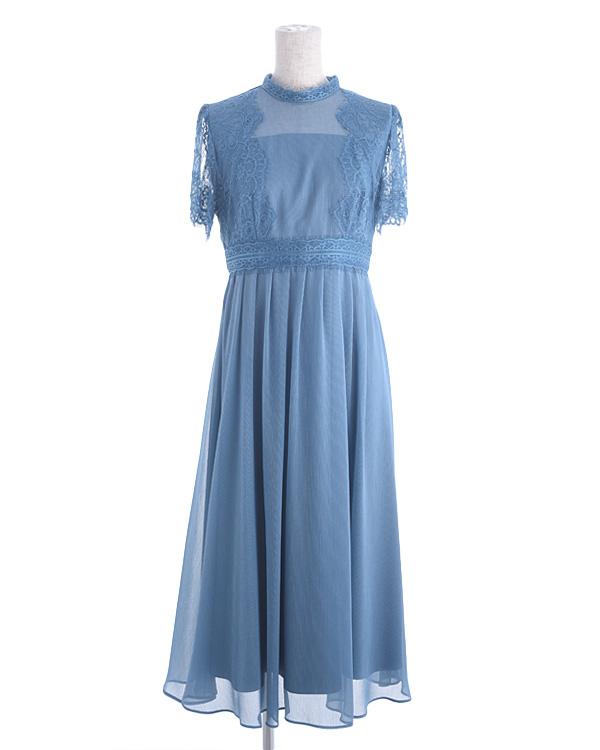 【ターコイズブルー 13号】レース 揚柳シフォン お袖付き セミロングドレス