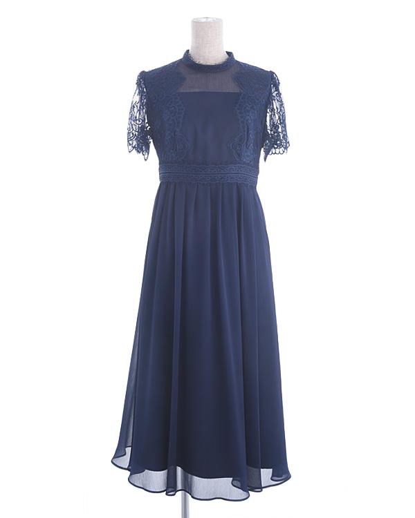 【ネイビー 13号】レース 揚柳シフォン お袖付き セミロングドレス