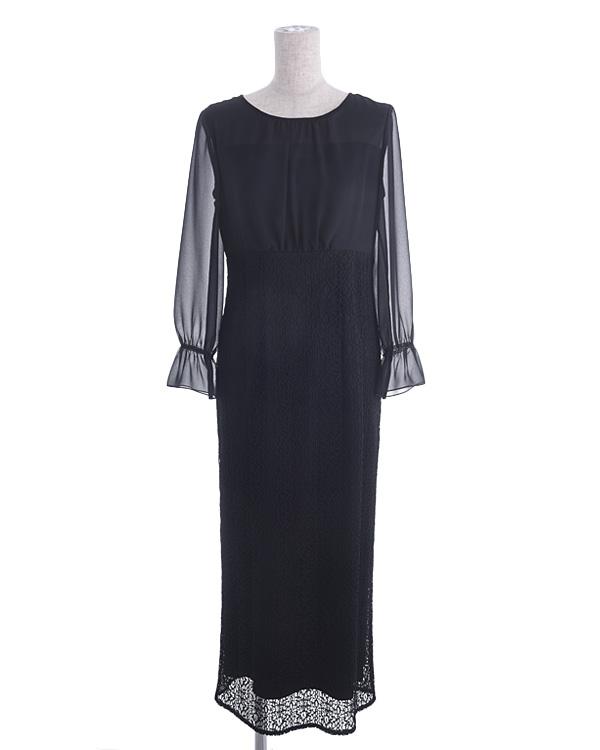 【ブラック 9号】シフォン×ラッセルレース 袖付き セミロングドレス