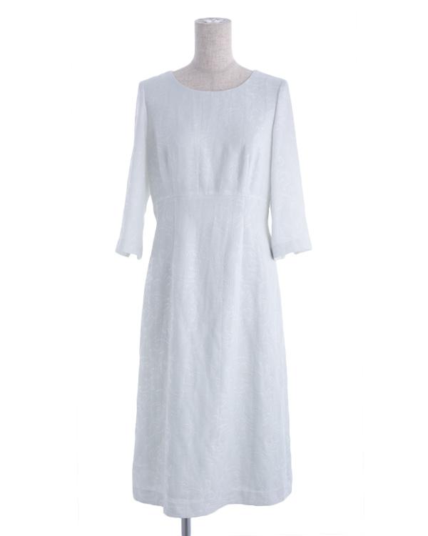 【ライトグリーン 9号】ボタニカル調 フクレジャカード 袖付き ウエスト切り替え Aラインドレス 同素材トップス有り セットアップ可能