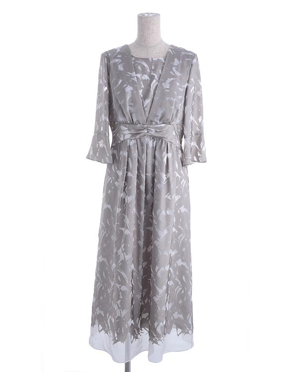 【グレー 9号】サテンオパール 袖付き ウエスト切り替え セミロングドレス