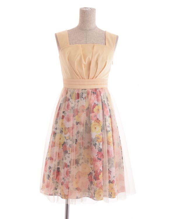 【イエロー 9号】花柄プリント×チュールスカート フィット&フレアドレス