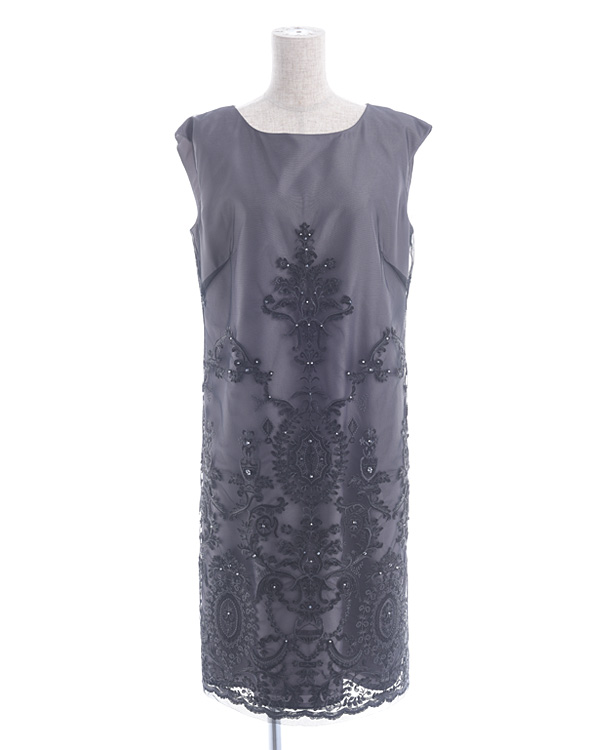 【グレー 11号】刺繍 ビーズポイント チュールレース サックドレス