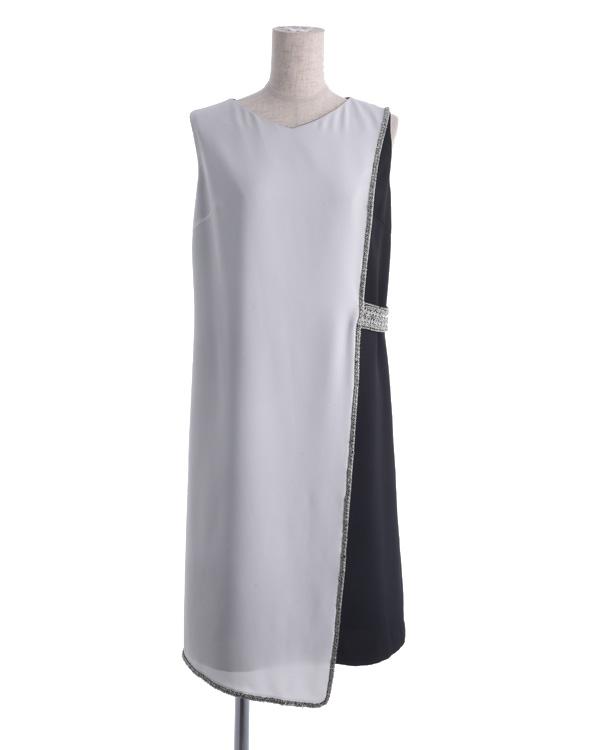 【ホワイト×ブラック 9号】ナチュラルフラットジョーゼット サックドレス 結婚式 ゲスト向け 謝恩会にもおすすめ