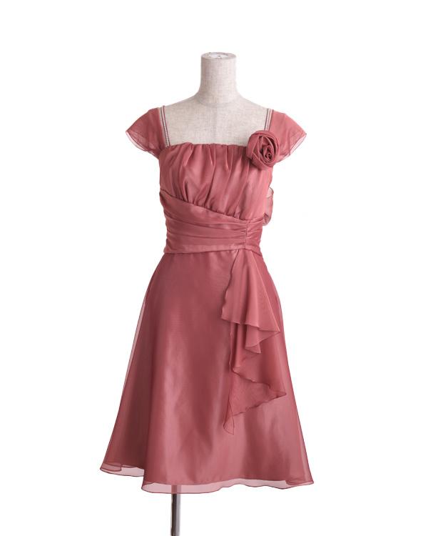 【ローズピンク 7号】シフォンジー 取り外し可能リボン コサージュ付き 切り替えドレス