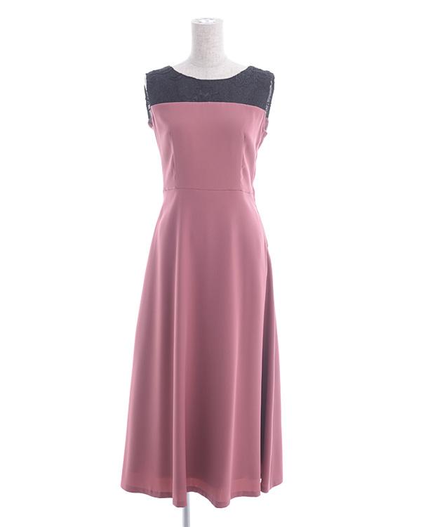 【ピンク×ブラック 9号】コードラッセル ジョーゼット スピンドル仕様 ローズピンク セミロングドレス