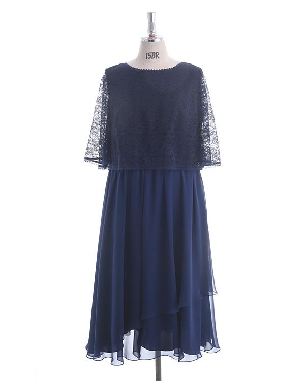 【ネイビー 19号】ラッセルレース×シフォン 大きいサイズ モアサイズ企画 人気デザイン 袖付きドレス