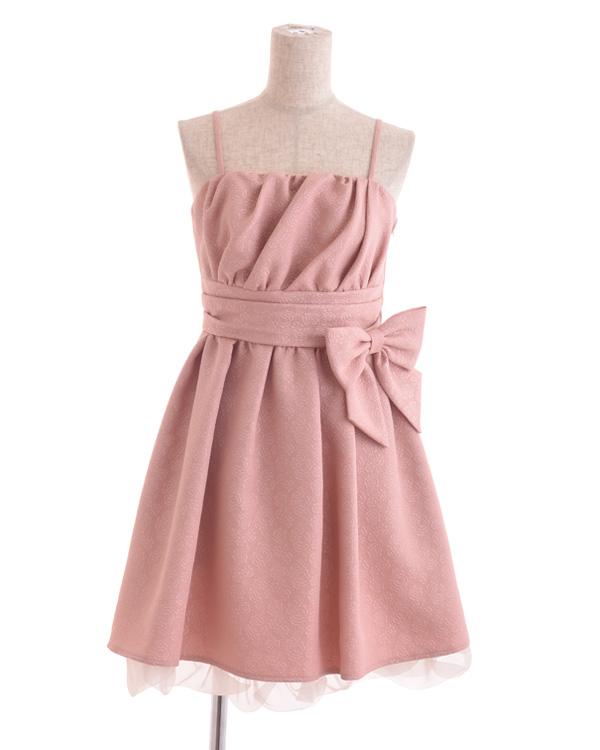 【ピンク 11号】フラワージャカード×オーガン フィット&フレアドレス