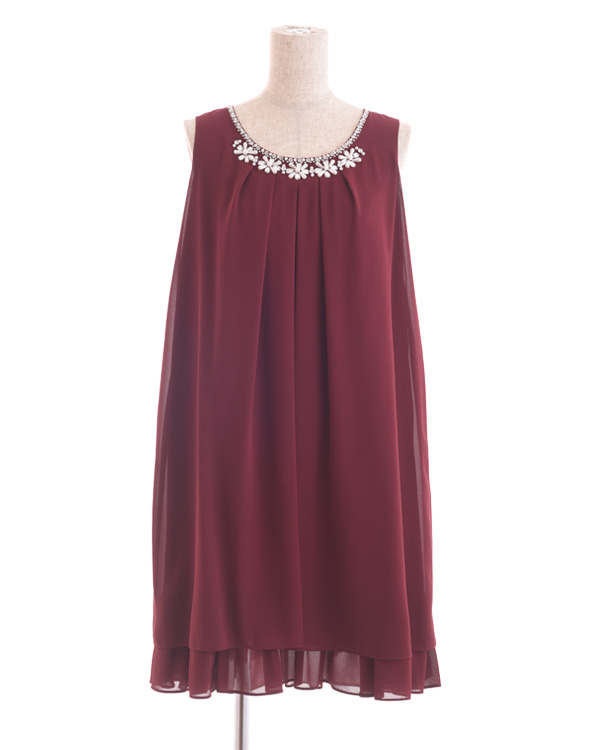 【バーガンディ 7号】シフォン×フラワーテープ刺繍 サックドレス