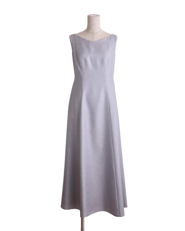 【シルバー ※サイズ選択可】ソフトシャンタン グリッター加工 フレアロングドレス