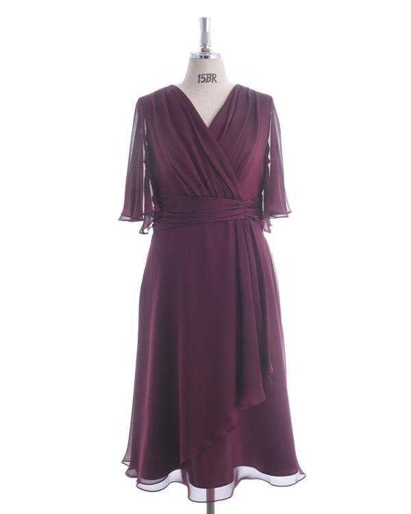 【ボルドー 19号】シャンブレーサテンジョーゼット 大きいサイズ モアサイズ企画 人気デザイン 袖付きドレス