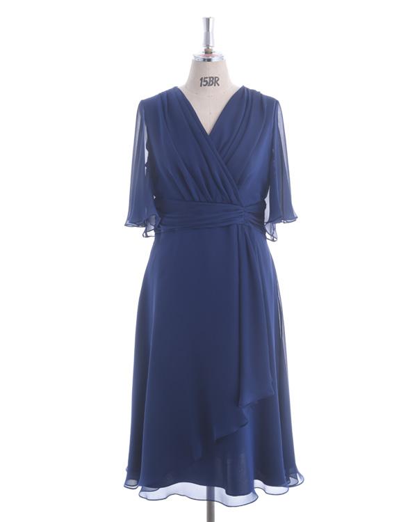 【ネイビー 19号】シャンブレーサテンジョーゼット 大きいサイズ モアサイズ企画 人気デザイン 袖付きドレス