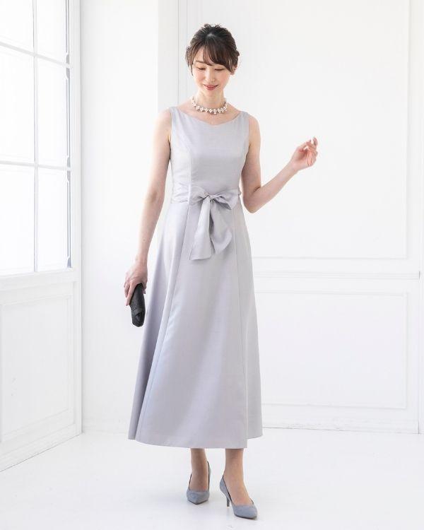 【シルバー ※サイズ選択可】ソフトシャンタン ウエストリボン付き フレアロングドレス