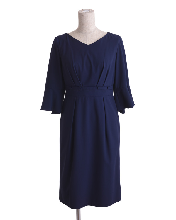 【ネイビー 9号】フラットジョーゼット 袖付き タックイン風ドレス