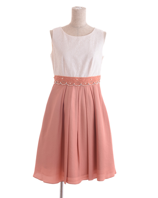 【オレンジ 9号】ウエストレース タックフレアスカートドレス
