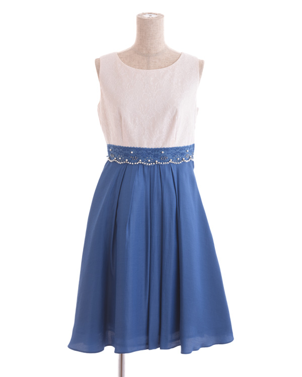 【ブルー 7号】ウエストレース タックフレアスカートドレス